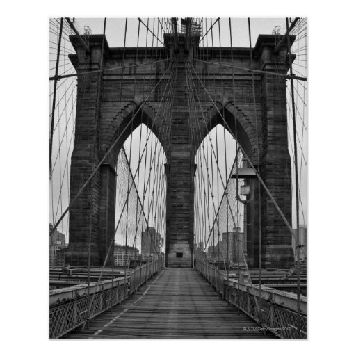 the brooklyn bridge in new york city poster zazzle. Black Bedroom Furniture Sets. Home Design Ideas