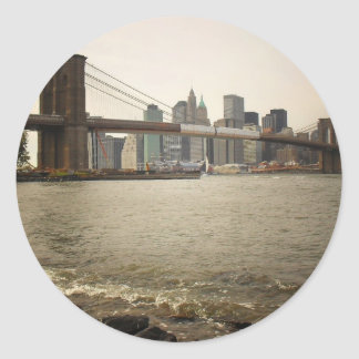 The Brooklyn Bridge, View from Brooklyn Classic Round Sticker