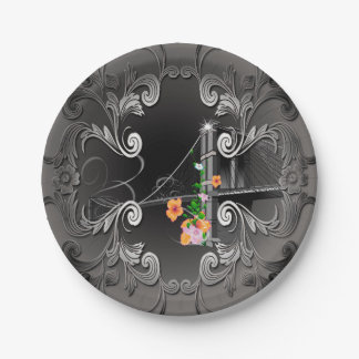 The Brooklyn Bridge with flowers 7 Inch Paper Plate
