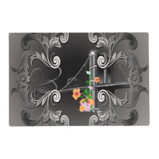 The Brooklyn Bridge with flowers Laminated Placemat