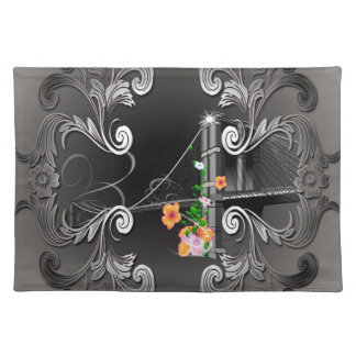 The Brooklyn Bridge with flowers Cloth Placemat