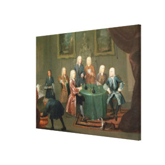 The Brothers Clarke with Other Gentlemen Taking Wi Canvas Print