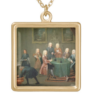 The Brothers Clarke with Other Gentlemen Taking Wi Square Pendant Necklace