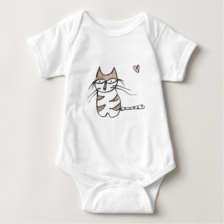 The Brown and White Kitty Baby Bodysuit