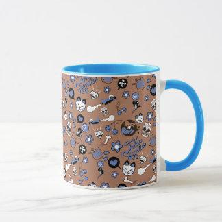 The brown/blue pattern mug