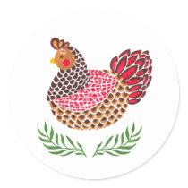 The Brown Hen Classic Round Sticker