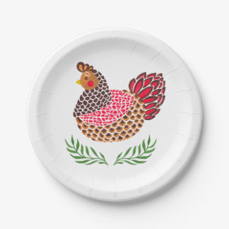 The Brown Hen Paper Plate