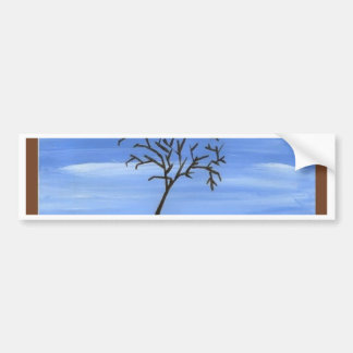 The Brown Tree Traditional Minimalist Painting Bumper Sticker