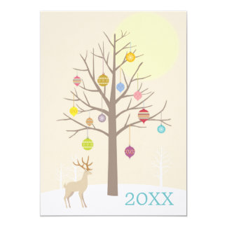 The brown tree with Christmas decorations 5x7 Paper Invitation Card