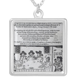 The Brownist Conventicle', published in 1641 Square Pendant Necklace