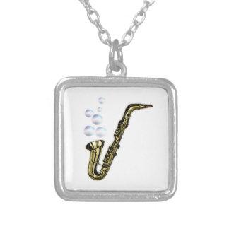 The Bubble Saxophone Square Pendant Necklace
