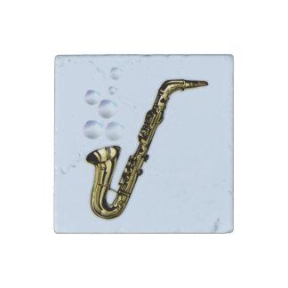 The Bubble Saxophone Stone Magnet