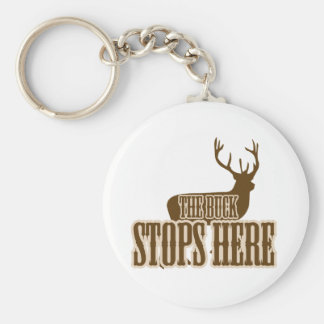 The Buck Stops Here Deer Hunter Basic Round Button Keychain