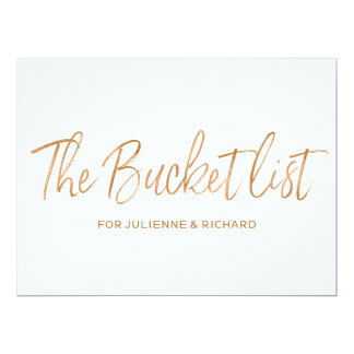 """The bucket list"" Wedding Stylish Gold Rose Sign Card"