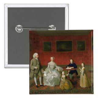 The Buckley-Boar Family, c.1758-60 (oil on canvas) 2 Inch Square Button