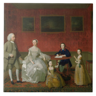 The Buckley-Boar Family, c.1758-60 (oil on canvas) Large Square Tile