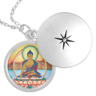 The Buddha - round locket necklace - silver plated