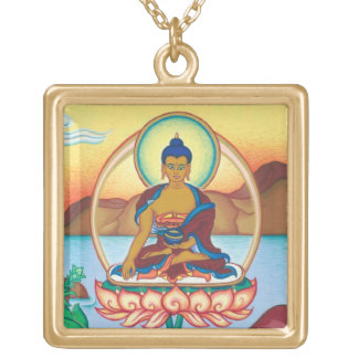 The Buddha - round necklace - silver plated