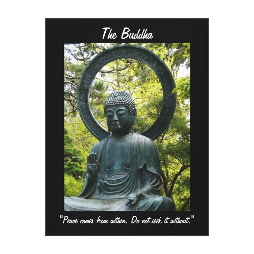 The Buddha-with Quote Stretched Canvas Print