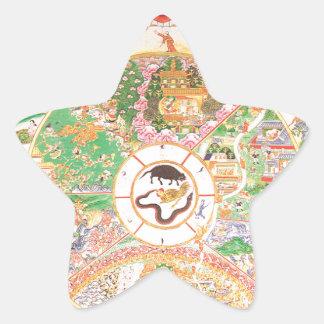 The Buddhist Wheel of Life Star Sticker