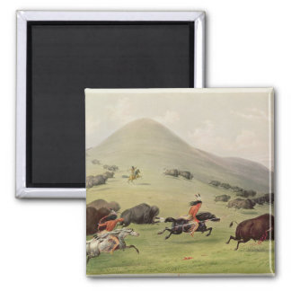 The Buffalo Hunt, c.1832 2 Inch Square Magnet