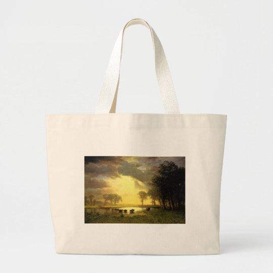 The Buffalo Trail,  Albert Bierstadt Large Tote Bag