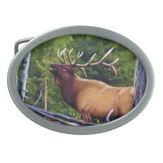The Bugler Elk Bull Belt Buckle