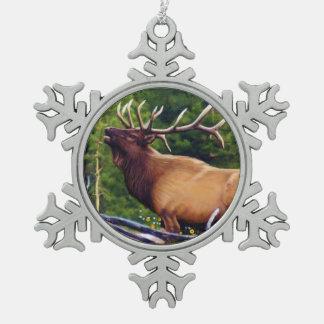 The Bugler Elk Bull Snowflake Pewter Christmas Ornament