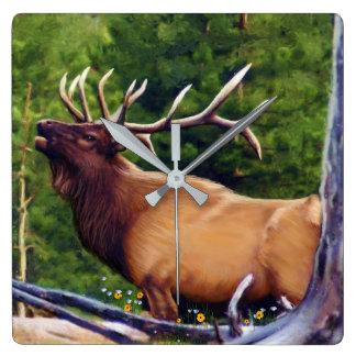 The Bugler Elk Bull Square Wall Clock