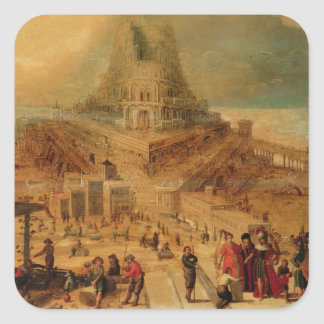 The building of the Tower of Babel (panel) Square Sticker