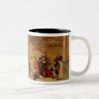 The building of the Tower of Babel (panel) Two-Tone Coffee Mug