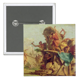 The Building of the Trojan Horse, c.1760 2 Inch Square Button