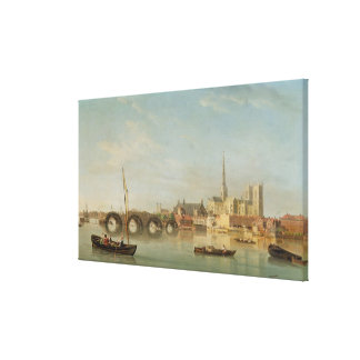 The Building of Westminster Bridge with an imagina Canvas Print