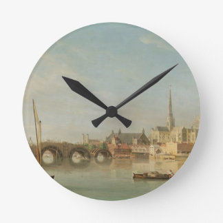 The Building of Westminster Bridge with an imagina Round Wall Clock