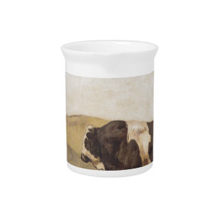 The bull by Ferdinand Hodler Beverage Pitcher