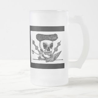 """The Bull Fighting Calavera"" Mexico c. late 1800's Frosted Glass Beer Mug"