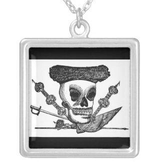 """""""The Bull Fighting Calavera"""" Mexico c. late 1800's Square Pendant Necklace"""