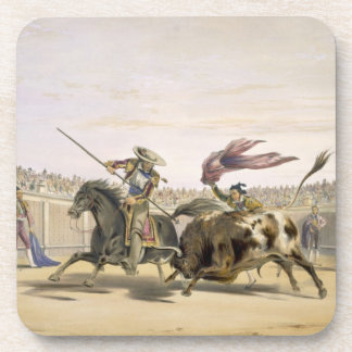 The Bull Following up the Charge, 1865 (colour lit Drink Coaster