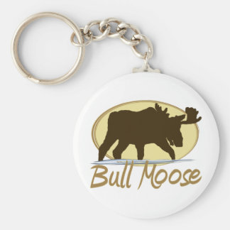 The Bull Moose Basic Round Button Keychain