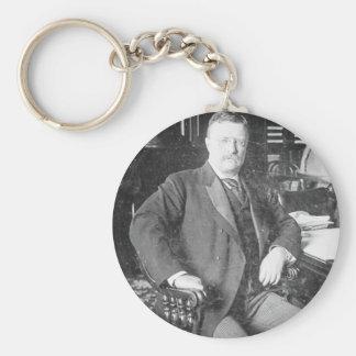 The Bull Moose Teddy Roosevelt Vintage Basic Round Button Keychain