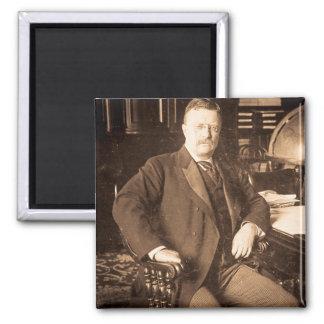 The Bull Moose Teddy Roosevelt Vintage Portrait 2 Inch Square Magnet