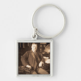 The Bull Moose Teddy Roosevelt Vintage Portrait Silver-Colored Square Keychain