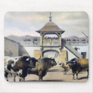 The Bulls in the Corral of the Plaza Mouse Pad