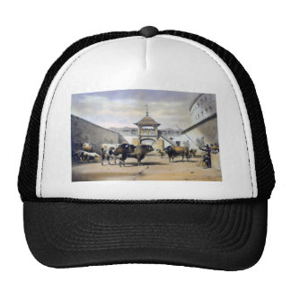 The Bulls in the Corral of the Plaza Trucker Hat