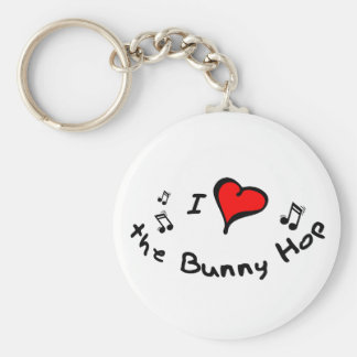 the Bunny Hop I Heart-Love Gift Basic Round Button Keychain
