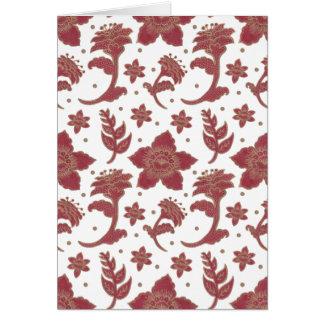 The Burgundy Batik Flowers Pattern on Greeting Card Illustration by Haidi Shabrina