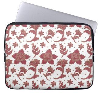 The Burgundy Batik Flowers Pattern on Gift Laptop Sleeve Illustration by Haidi Shabrina