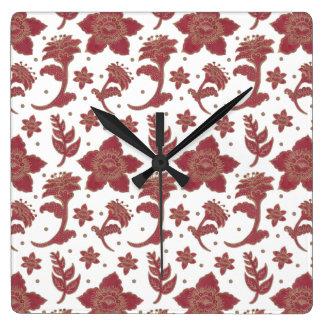 The Burgundy Batik Flowers Pattern on Square Clock Illustration by Haidi Shabrina