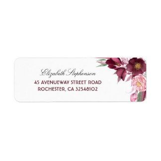 The Burgundy Flowers Bouquet Elegant Wedding Label