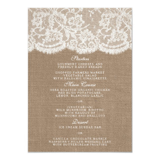 The Burlap & Lace Collection Menu Templates 4.5x6.25 Paper Invitation Card